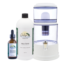 The Adya Clarity Mountain Spring Water Filtration System (BPA Free) - *** PLUS BONUS 16oz & 2oz bottle of Adya Clarity ***