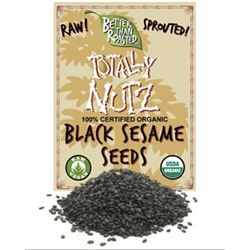 BTR™  Black Sesame Seeds, Sprouted and Dehydrated - (8 oz) - SPROUTED, Certified Organic, Raw