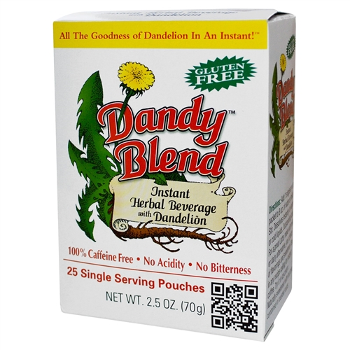 Dandy Blend - Box 25 Single Serving Pouches (2.8g/pouch) - Instant Herbal Beverage with Dandelion (Coffee Alternative)  2.5 oz (72 g)