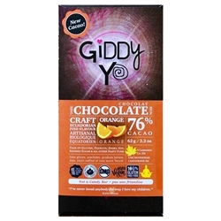 Orange Chocolate Bar, 76% (Organic, Raw) (62 g) - Giddy Yoyo