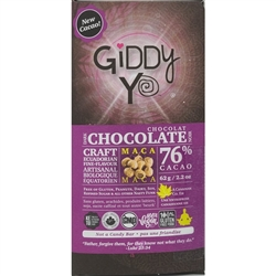 Maca Chocolate Bar, 76% (Organic, Raw) (62 g) - Giddy Yoyo