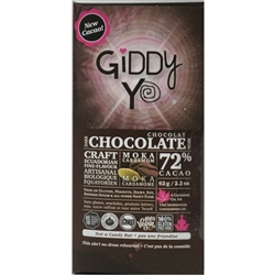 Moka Cardamom Chocolate Bar, 72% (Organic, Raw) (62 g) - Giddy Yoyo