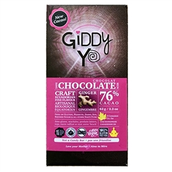 Ginger Chocolate Bar, 76% (Organic, Raw) (62 g) - Giddy Yoyo