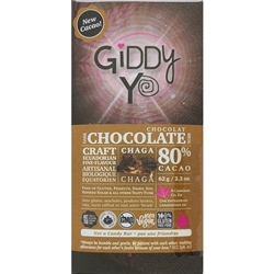 Chaga Chocolate Bar, 79% (Organic, Raw) (62 g) - Giddy Yoyo