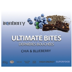 Ultimate Bites: Chia & Wild Blueberry, 60g. (Non-GMO, gluten-free, Kosher, and Vegan) - IronBerry