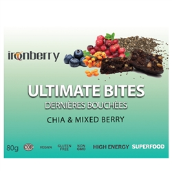 Ultimate Bites: Chia & Mixed berry, 60g. (Non-GMO, gluten-free, Kosher, and Vegan) - IronBerry