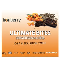 Ultimate Bites: Chia & Sea Buckthorn, 60g. (Non-GMO, gluten-free, Kosher, and Vegan) - IronBerry