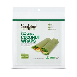 Coconut Wraps - Moringa - Organic, Raw, Vegan, Paleo, 7ct. - Sunfood