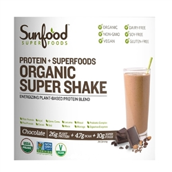 Super Shake, Chocolate, 8 oz. (Organic, Vegan, NON-GMO, Gluten-Free) - Sunfood