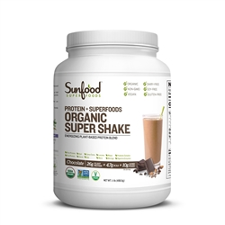 Super Shake, Chocolate, 1.1lbs (Organic, Vegan, NON-GMO, Gluten-Free) - Sunfood *** CLEARANCE BEST BEFORE FEBRUARY 2020 ***