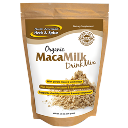 Organic MacaMilk Drink Mix, 3.5 ox. (100 g.) - North American Herb & Spice ***CLEARANCE BEST BEFORE AUGUST 2020***