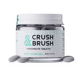 Crush & Brush Toothpaste Tablets Mint Charcoal 75 Tabs - Nelson Naturals