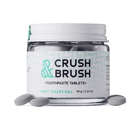 Crush & Brush Toothpaste Tablets Mint Charcoal 80 Tabs - Nelson Naturals
