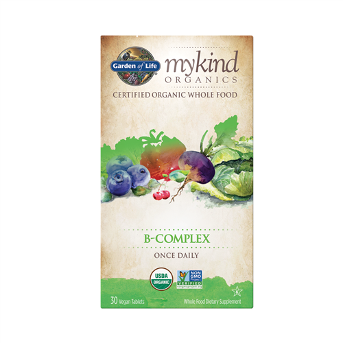 Organic B-Complex Once Daily - 30 Vegan Tablets - Garden of Life, Mykind Organics