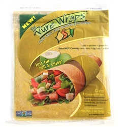 Coconut Wraps - CURRY (4 wraps)(Raw, Gluten Free, Non-GMO) - The Pure Wraps *** CLEARANCE BEST BEFORE DECEMBER 2018 ***