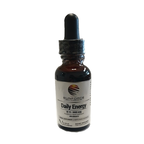Daily Energy - B-12, Methylcobalamin 5000 mcg - Raspberry Liquid Sublingual - (1 oz/30 ml.) - Sunforce