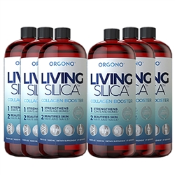 Orgono Living Silica 6 PACK - Collagen Booster - Reformulated 2x Stronger - 1000ml/34oz. Liquid  - Silicium Laboratories