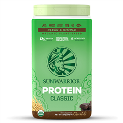 Sun Warrior Protein, CLASSIC CHOCOLATE, New 750g TUB (raw, GMO-free, vegan) *** CLEARANCE BEST BEFORE JULY 2019 ***