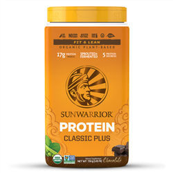 Classic PLUS - Chocolate, 750g. TUB (Raw, Organic, GMO-free, Gluten Free) - Sun Warrior *** CLEARANCE BEST BEFORE AUGUST 2019 ***