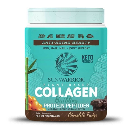 Collagen Building Protein Peptides - Chocolate Fudge, 500g. TUB (Soy-free, GMO-free, Gluten Free) - Sun Warrior